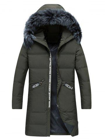 Affordable Faux Fur Collar Longline Graphic Print Zip Up Down Coat