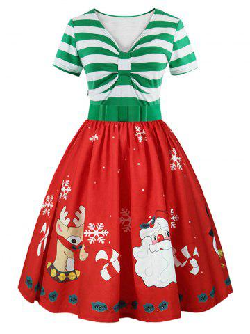 Sale Christmas Print Short Sleeve Belted Vintage Dress