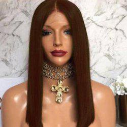 Free Part Straight Long Bob Lace Front Human Hair Wig -
