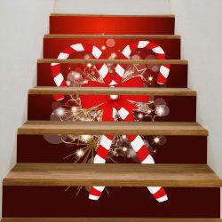 Christmas Candy Sticks Printed DIY Removable Stair Stickers - Red - 100*18cm*6pcs