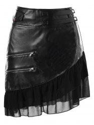Zipper Flounce Panel Jupe en faux cuir -