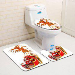 Santa Sleigh Printed 3Pcs Flannel Christmas Bath Toilet Mats Set -