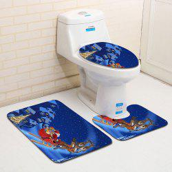 3Pcs Christmas Sled and Town Print Flannel Bath Toilet Mats Set -