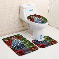 3Pcs Christmas Theme Printed Flannel Toilet Bath Mats Set -