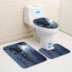 3Pcs Moon Night Christmas Sled Print Flannel Bath Toilet Rugs Set -