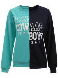 Cow Letter Plus Size Color Block Sweatshirt -