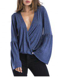 Flare Sleeve Plunging Neck T-shirt -