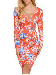 Floral Long Sleeve  Sheath Surplice Dress -
