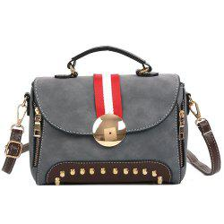 Color Block Striped Studs Crossbody Bag -