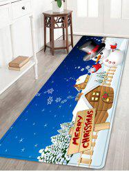 Christmas Snowman House Pattern Anti-skid Water Absorption Area Rug -