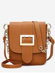 Chain Faux Leather Buckle Strap Crossbody Bag -