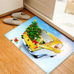 Christmas Tree In Car Pattern Anti-skid Water Absorption Area Rug -