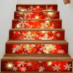 Fantsy Christmas Snowflake Print Pattern Stair Stickers - Colorful - 100*18cm*6pcs