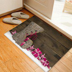 Christmas Wood Shoe Pattern Anti-skid Water Absorption Area Rug -