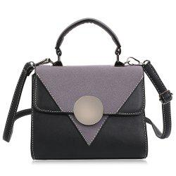 Color Block Triangle Pattern Crossbody Bag -
