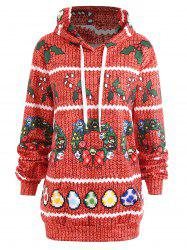 Christmas Berry Bowknot Printed Plus Size Hoodie -