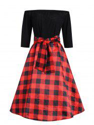 Plus Size Off The Shoulder Checked Vintage Dress -