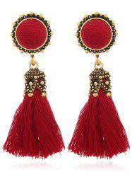 Vintage Tassel Pompon Drop Earrings -