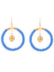 Metal Ball Circle Braid Hook Drop Earrings -