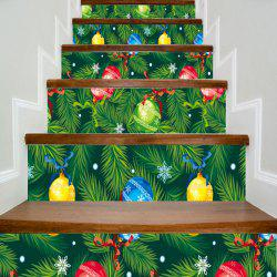 Christmas Pine Boughs and Balls Print Decorative DIY Stair Stickers - Green - 100*18cm*6pcs