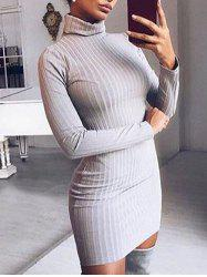 Mini Turtleneck Knit Ribbed Dress -
