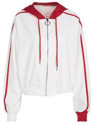 Two Tone Zip Up Hooded Jacket -