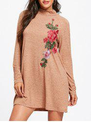 Raglan Sleeve High Neck Floral Applique Dress -