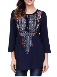 Ethnic Embroidery Tunic Blouse -