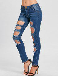 Skinny Hole Distressed Jeans -