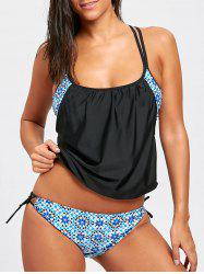 Cross Back Spaghetti Strap Floral Tankini Set -