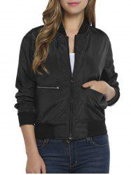 Contrast Zip Up Bomber Jacket -