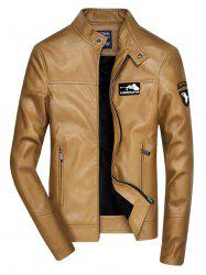 Embroidered Zip Up Faux Leather Jacket -
