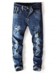 Bleached Wash Buttons Straight Leg Ripped Jeans -