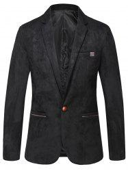 Lapel One Button Vintage Suede Blazer -