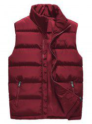 Embroidered Zip Up Padded Waistcoat -