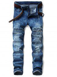 Zip Fly Tie Dyed Distressed Biker Jeans -