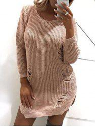 Side Slit Ripped Sweater Dress -