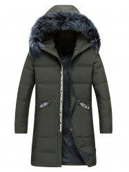 Faux Fur Collar Longline Graphic Print Zip Up Down Coat -