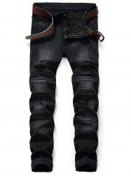 Slim Fit Zip Fly Distressed Biker Jeans -