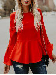 Flare Sleeve Skinny Waisted Peplum Top -