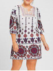 Plus Size Keyhole Bohemian Floral Print Dress -