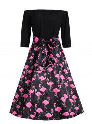 Plus Size Flamingo Printed Off The Shoulder Vintage Dress -