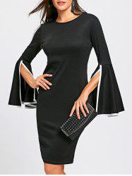 Split Bell Sleeve Pencil Dress -