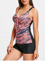 Spaghetti Strap Striped Tankini Set -