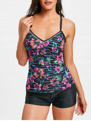 Flower Print Cross Back Tankini Swimwear -