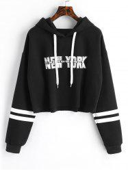 Striped New York Graphic Crop Hoodie -