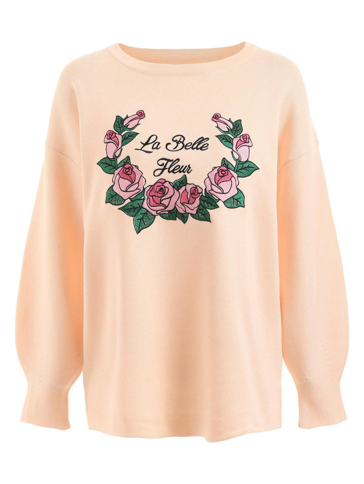 Hot Floral Letter Embroidered Plus Size Sweater