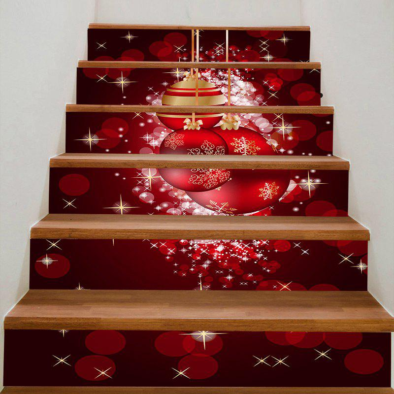 Red Christmas Balls Printed DIY Removable Stair StickersHOME<br><br>Size: 100*18CM*6PCS; Color: RED; Wall Sticker Type: Plane Wall Stickers; Functions: Stair Stickers; Theme: Christmas; Pattern Type: Ball; Material: PVC; Feature: Removable; Weight: 0.3100kg; Package Contents: 1 x Stair Stickers (Set);