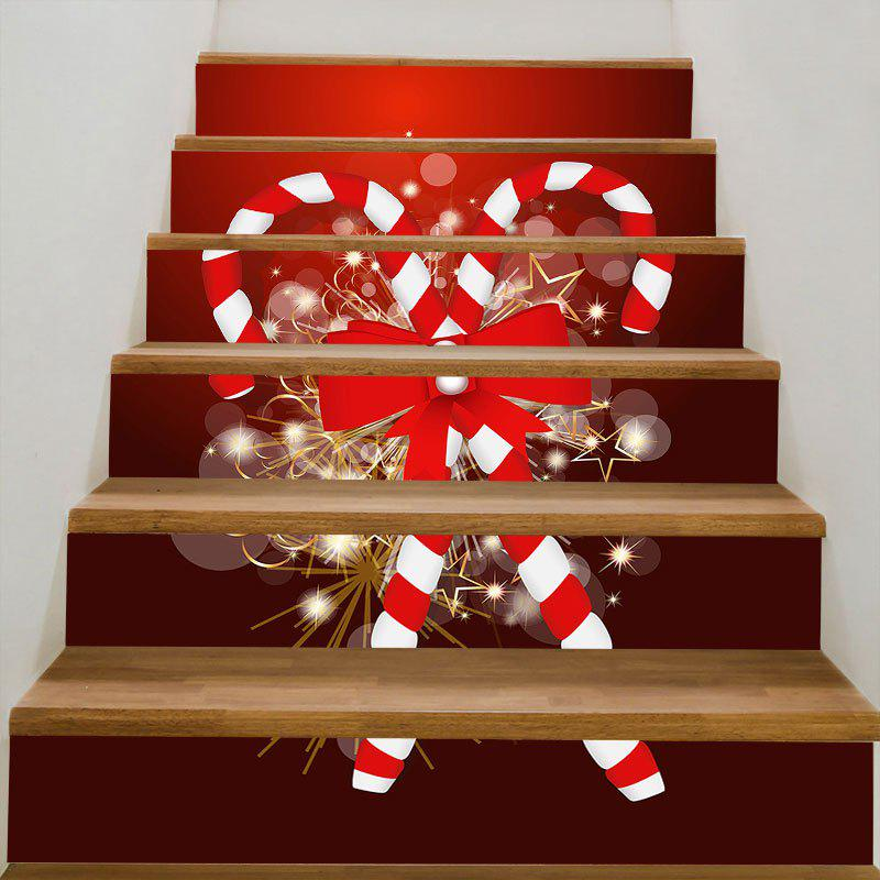 Christmas Candy Sticks Printed DIY Removable Stair StickersHOME<br><br>Size: 100*18CM*6PCS; Color: RED; Wall Sticker Type: Plane Wall Stickers; Functions: Stair Stickers; Theme: Christmas; Pattern Type: Print; Material: PVC; Feature: Removable; Weight: 0.3100kg; Package Contents: 1 x Stair Stickers (Set);