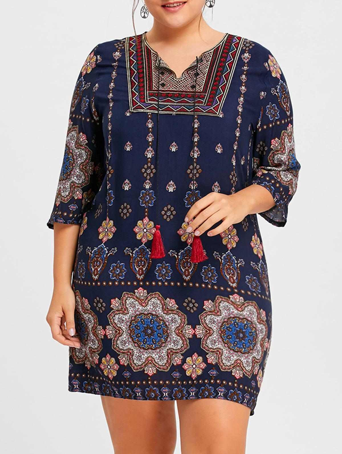 New Plus Size Keyhole Bohemian Floral Print Dress